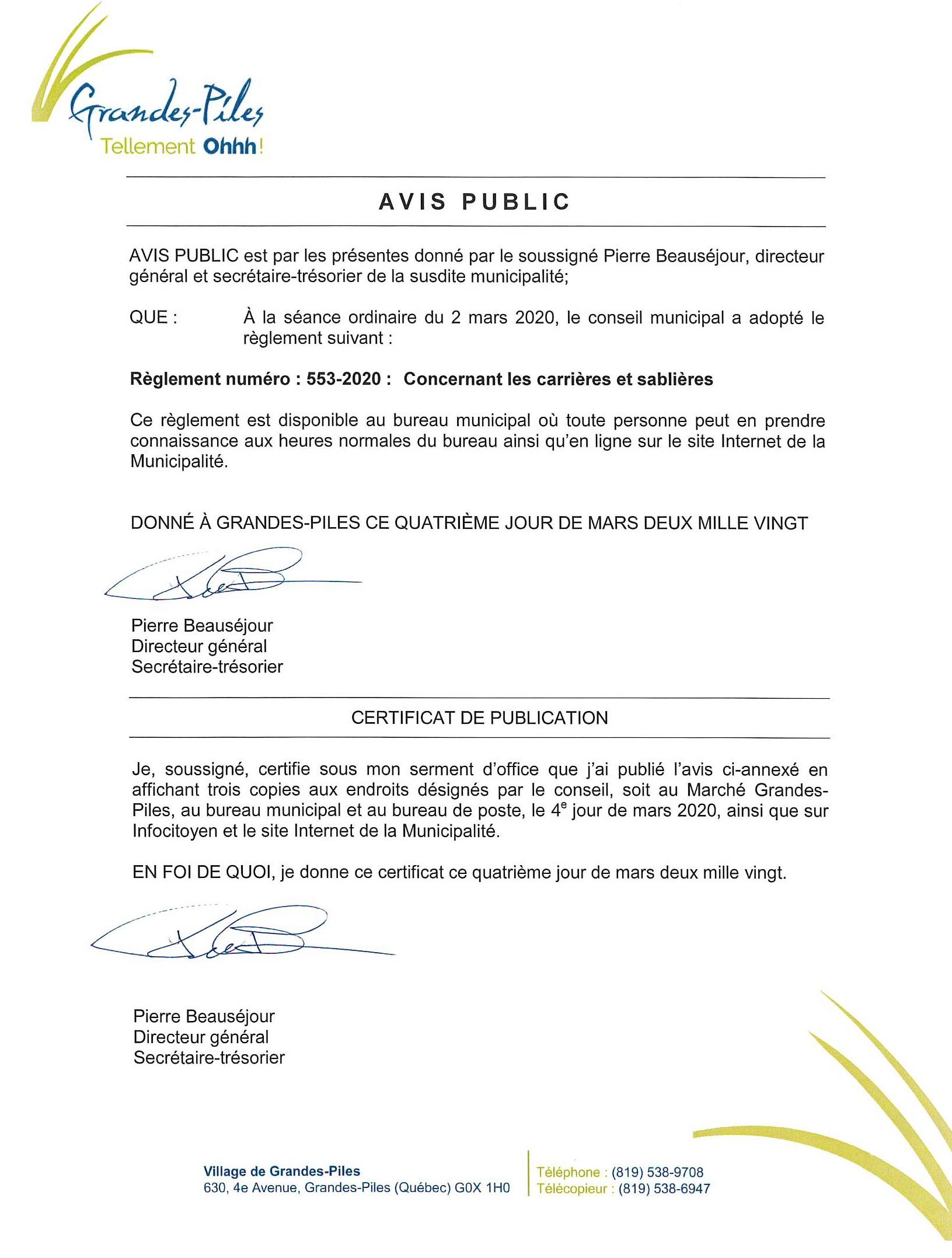 Adoption règlement 553-2020 Carrières et sablières