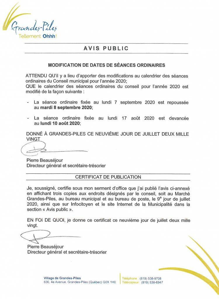 Modification dates de séances